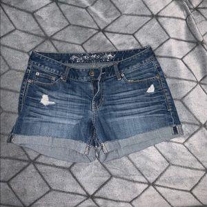 Express denim shorts.